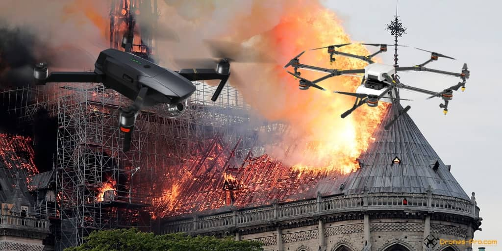 drone video footage of notre dame cathedral fire